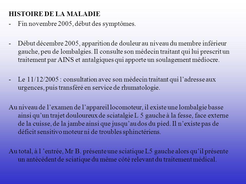 HISTOIRE DE LA MALADIE -Fin novembre 2005, début des symptômes. -Début décembre 2005, apparition de douleur au niveau du membre inférieur gauche, peu