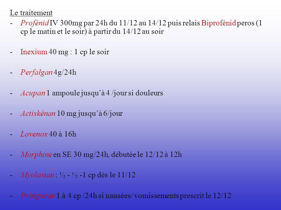 Le traitement -Profénid IV 300mg par 24h du 11/12 au 14/12 puis relais Biprofénid peros (1 cp le matin et le soir) à partir du 14/12 au soir - Inexium