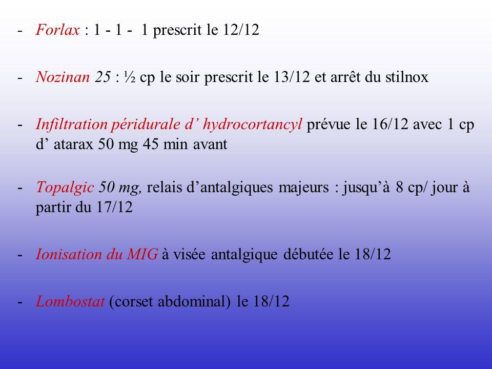 - Forlax : 1 - 1 - 1 prescrit le 12/12 - Nozinan 25 : ½ cp le soir prescrit le 13/12 et arrêt du stilnox - Infiltration péridurale d hydrocortancyl pr