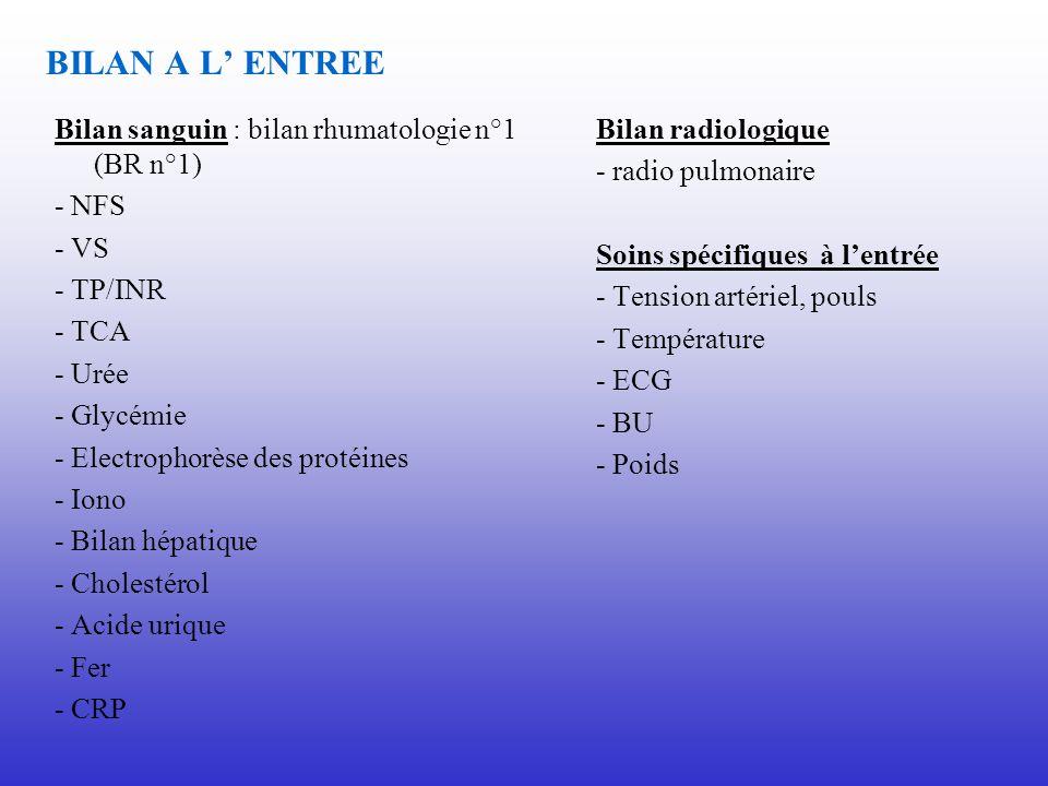 BILAN A L ENTREE Bilan sanguin : bilan rhumatologie n°1 (BR n°1) - NFS - VS - TP/INR - TCA - Urée - Glycémie - Electrophorèse des protéines - Iono - B
