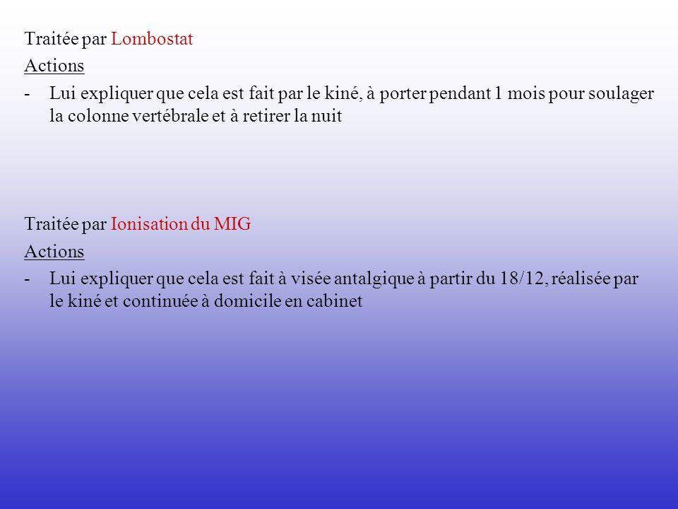 Traitée par Lombostat Actions - Lui expliquer que cela est fait par le kiné, à porter pendant 1 mois pour soulager la colonne vertébrale et à retirer