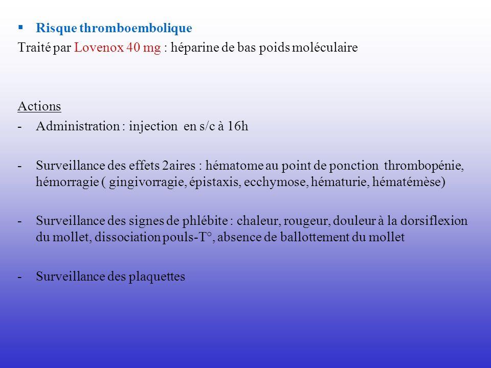 Risque thromboembolique Traité par Lovenox 40 mg : héparine de bas poids moléculaire Actions -Administration : injection en s/c à 16h -Surveillance de
