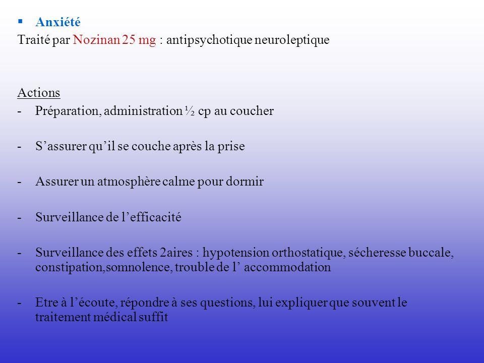 Anxiété Traité par Nozinan 25 mg : antipsychotique neuroleptique Actions -Préparation, administration ½ cp au coucher -Sassurer quil se couche après l
