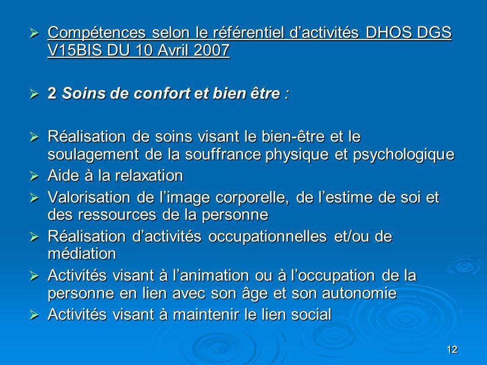 12 Compétences selon le référentiel dactivités DHOS DGS V15BIS DU 10 Avril 2007 Compétences selon le référentiel dactivités DHOS DGS V15BIS DU 10 Avri