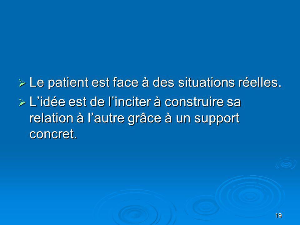 19 Le patient est face à des situations réelles. Le patient est face à des situations réelles. Lidée est de linciter à construire sa relation à lautre