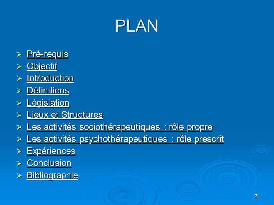 2 PLAN Pré-requis Pré-requis Objectif Objectif Introduction Introduction Définitions Définitions Législation Législation Lieux et Structures Lieux et