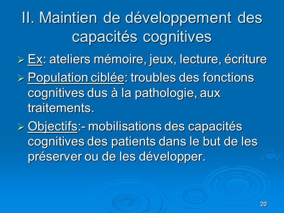 20 II. Maintien de développement des capacités cognitives Ex: ateliers mémoire, jeux, lecture, écriture Ex: ateliers mémoire, jeux, lecture, écriture