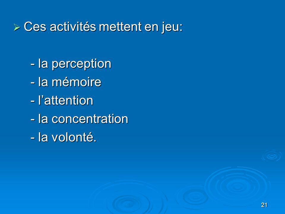21 Ces activités mettent en jeu: Ces activités mettent en jeu: - la perception - la perception - la mémoire - la mémoire - lattention - lattention - l