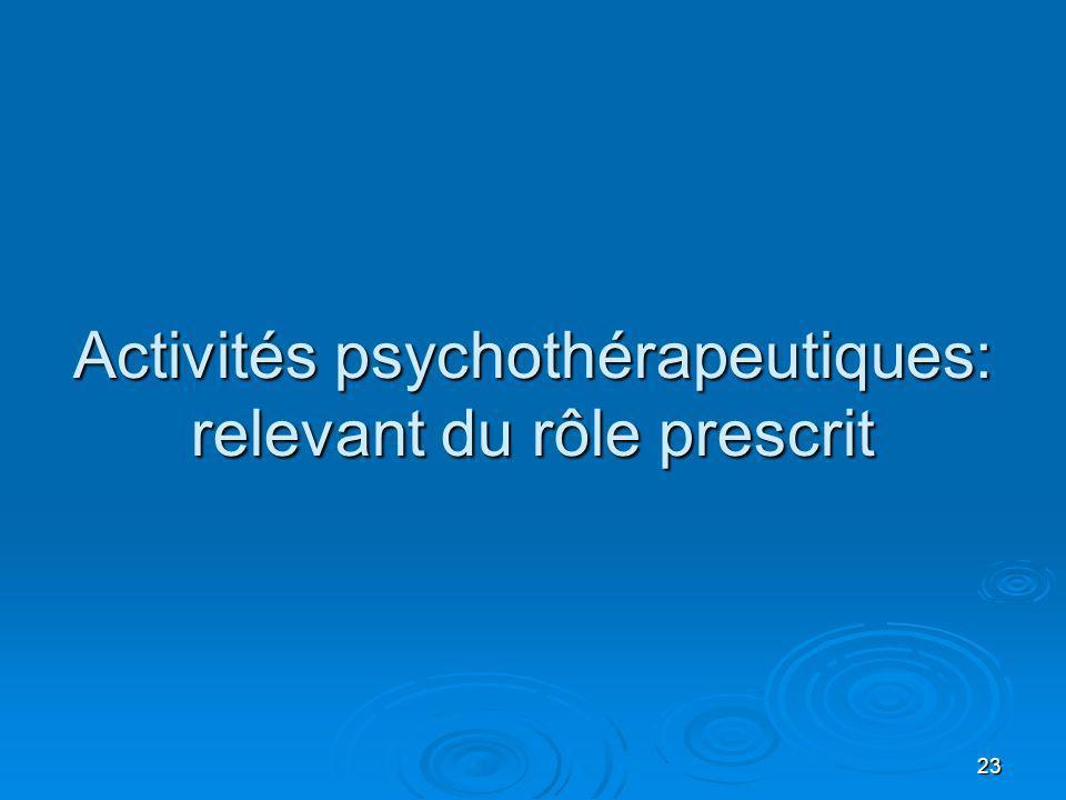 23 Activités psychothérapeutiques: relevant du rôle prescrit
