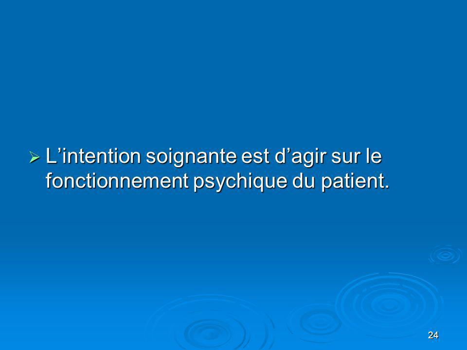 24 Lintention soignante est dagir sur le fonctionnement psychique du patient. Lintention soignante est dagir sur le fonctionnement psychique du patien