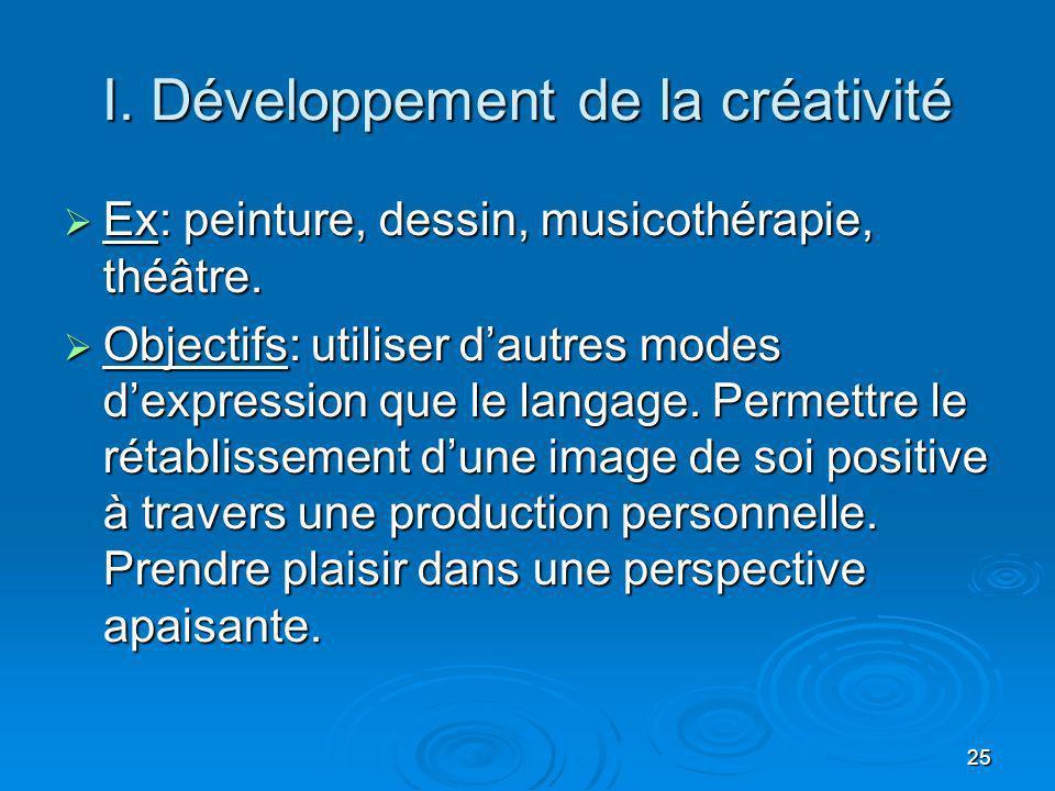 25 I. Développement de la créativité Ex: peinture, dessin, musicothérapie, théâtre. Ex: peinture, dessin, musicothérapie, théâtre. Objectifs: utiliser