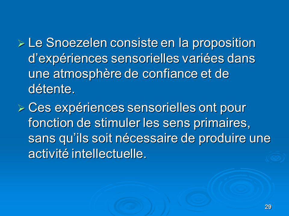 29 Le Snoezelen consiste en la proposition dexpériences sensorielles variées dans une atmosphère de confiance et de détente. Le Snoezelen consiste en