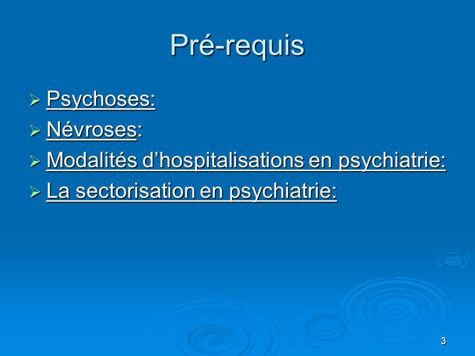3 Pré-requis Psychoses: Psychoses: Névroses: Névroses: Modalités dhospitalisations en psychiatrie: Modalités dhospitalisations en psychiatrie: La sect