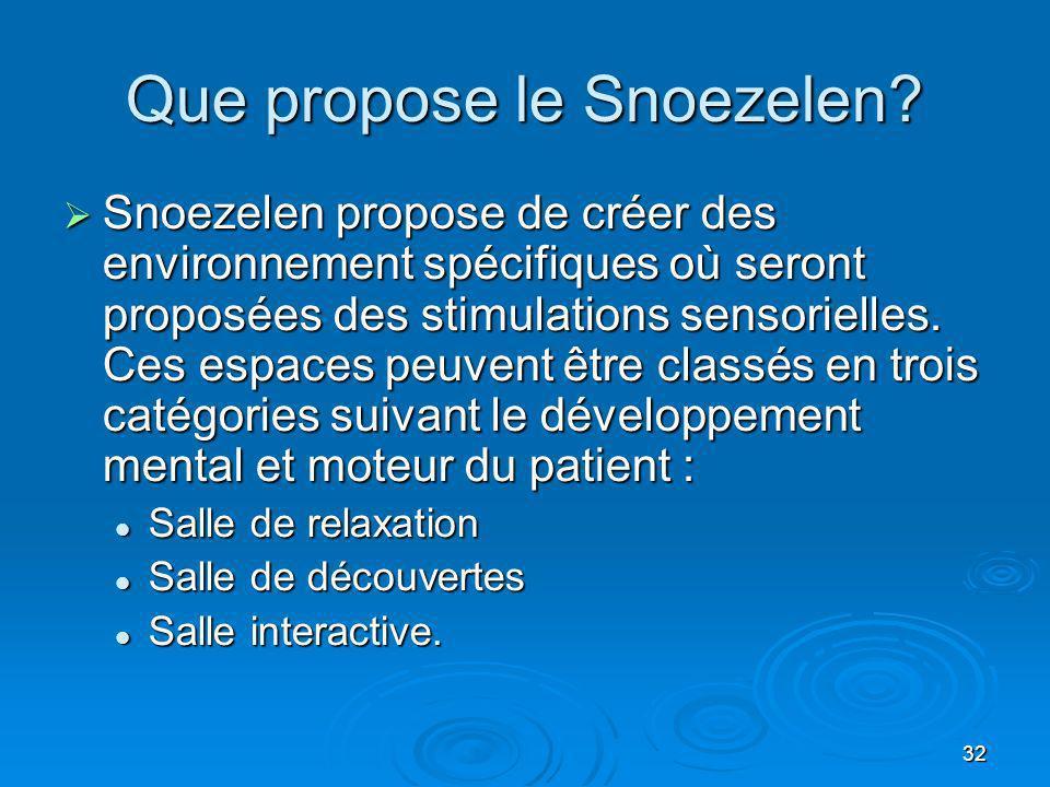 32 Que propose le Snoezelen? Snoezelen propose de créer des environnement spécifiques où seront proposées des stimulations sensorielles. Ces espaces p