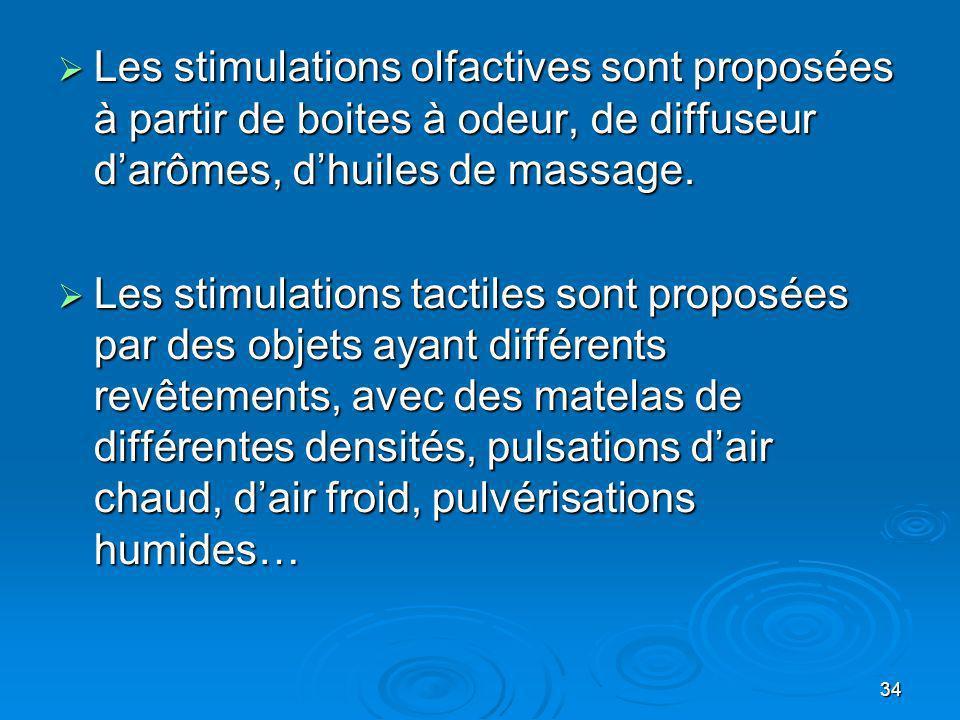 34 Les stimulations olfactives sont proposées à partir de boites à odeur, de diffuseur darômes, dhuiles de massage. Les stimulations olfactives sont p