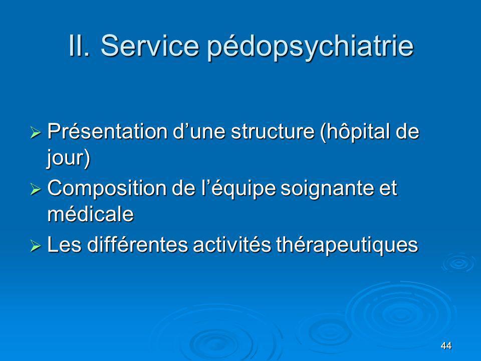 44 II. Service pédopsychiatrie Présentation dune structure (hôpital de jour) Présentation dune structure (hôpital de jour) Composition de léquipe soig