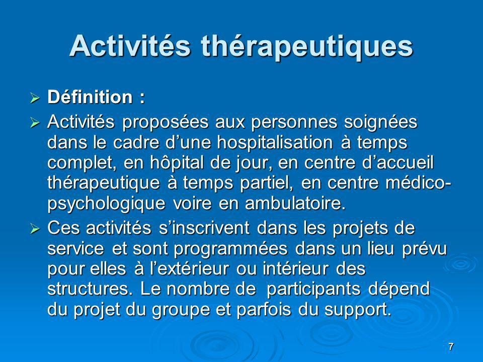 7 Activités thérapeutiques Définition : Définition : Activités proposées aux personnes soignées dans le cadre dune hospitalisation à temps complet, en