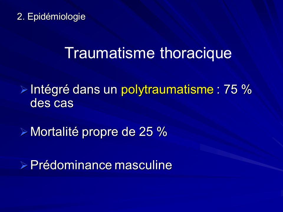 2. Epidémiologie Intégré dans un polytraumatisme : 75 % des cas Intégré dans un polytraumatisme : 75 % des cas Traumatisme thoracique Mortalité propre