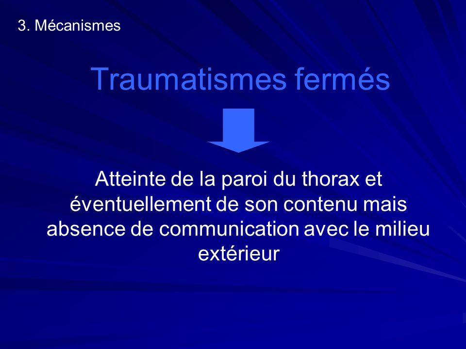 3. Mécanismes Traumatismes fermés Atteinte de la paroi du thorax et éventuellement de son contenu mais absence de communication avec le milieu extérie