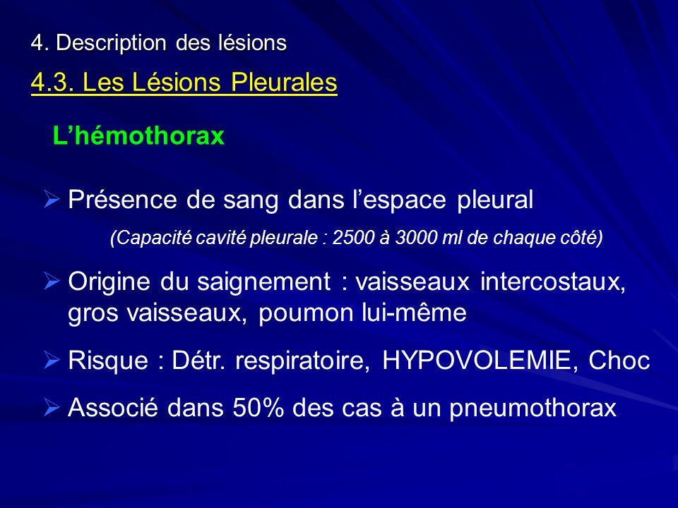 4. Description des lésions 4.3. Les Lésions Pleurales Lhémothorax Présence de sang dans lespace pleural (Capacité cavité pleurale : 2500 à 3000 ml de