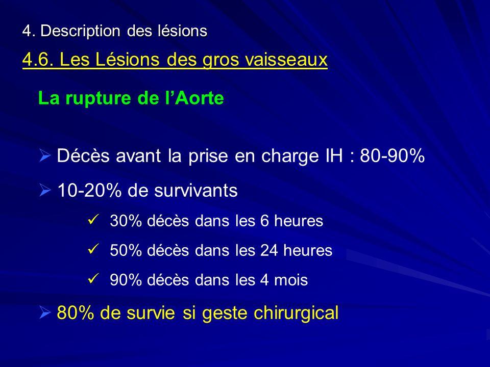 4. Description des lésions 4.6. Les Lésions des gros vaisseaux La rupture de lAorte Décès avant la prise en charge IH : 80-90% 10-20% de survivants 30