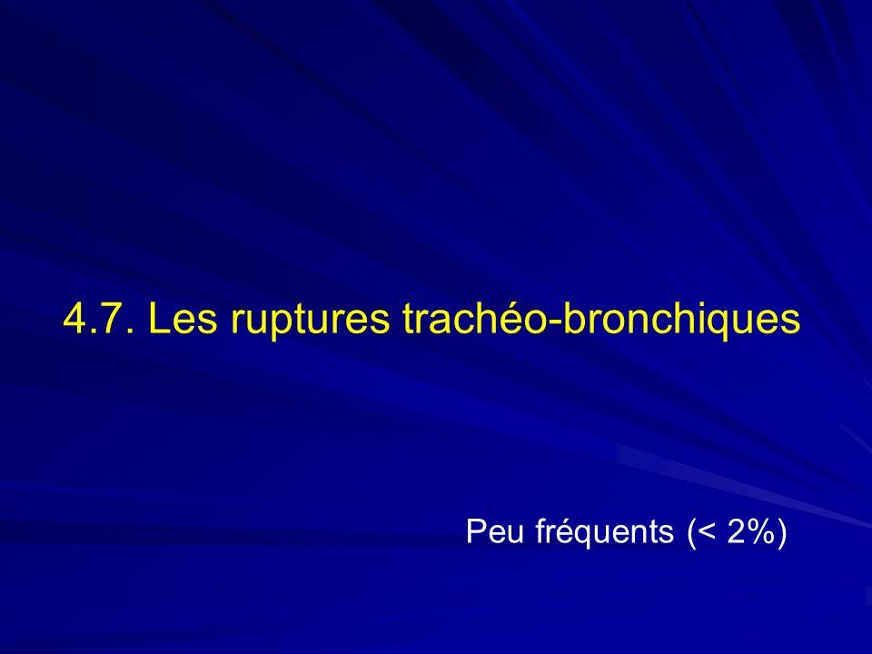4.7. Les ruptures trachéo-bronchiques Peu fréquents (< 2%)