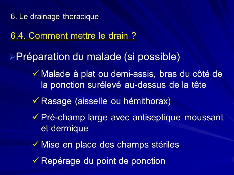 6. Le drainage thoracique 6.4. Comment mettre le drain ? Préparation du malade (si possible) Malade à plat ou demi-assis, bras du côté de la ponction