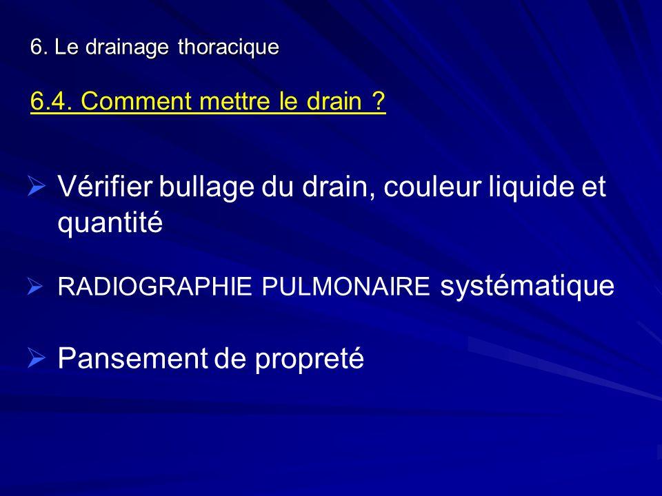 6. Le drainage thoracique 6.4. Comment mettre le drain ? Vérifier bullage du drain, couleur liquide et quantité RADIOGRAPHIE PULMONAIRE systématique P