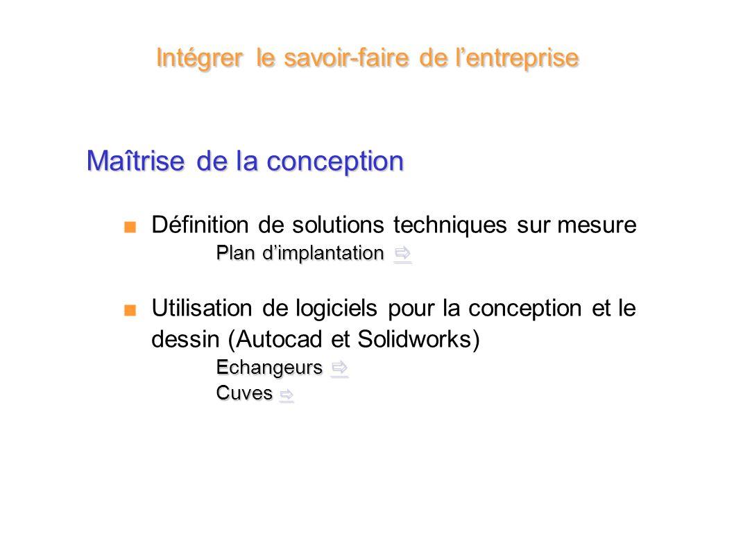 Maîtrise de la conception Définition de solutions techniques sur mesure Plan dimplantation Plan dimplantation Utilisation de logiciels pour la concept