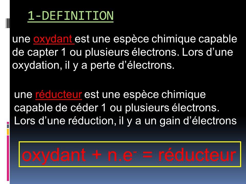 1-DEFINITION une oxydant est une espèce chimique capable de capter 1 ou plusieurs électrons.
