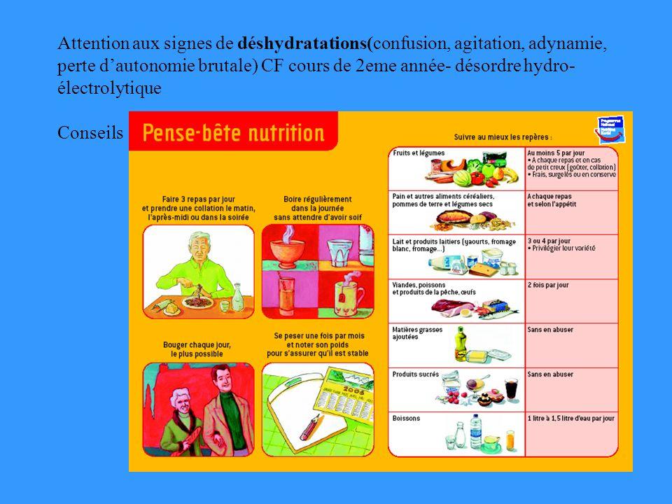 Attention aux signes de déshydratations(confusion, agitation, adynamie, perte dautonomie brutale) CF cours de 2eme année- désordre hydro- électrolytique Conseils