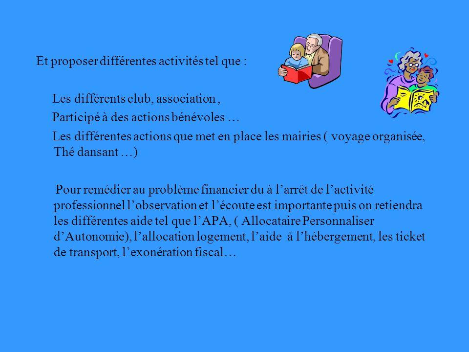 Et proposer différentes activités tel que : Les différents club, association, Participé à des actions bénévoles … Les différentes actions que met en p