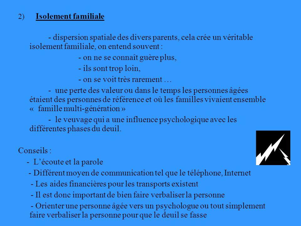 2) Isolement familiale - dispersion spatiale des divers parents, cela crée un véritable isolement familiale, on entend souvent : - on ne se connaît gu
