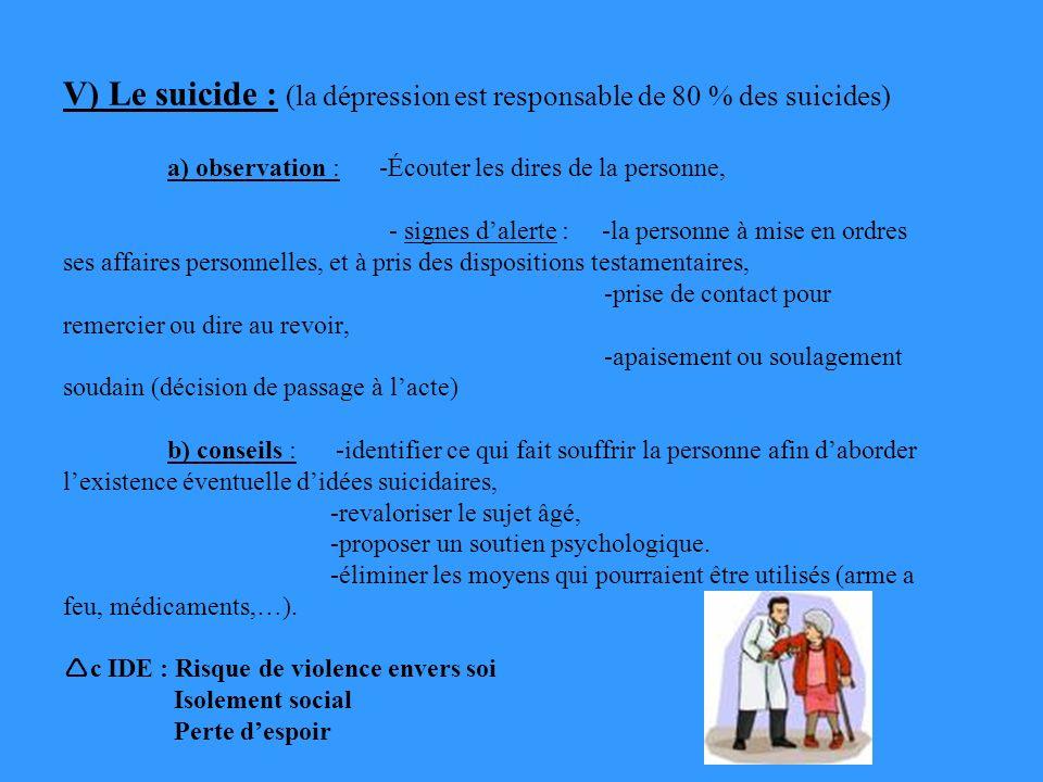 V) Le suicide : (la dépression est responsable de 80 % des suicides) a) observation : -Écouter les dires de la personne, - signes dalerte : -la personne à mise en ordres ses affaires personnelles, et à pris des dispositions testamentaires, -prise de contact pour remercier ou dire au revoir, -apaisement ou soulagement soudain (décision de passage à lacte) b) conseils : -identifier ce qui fait souffrir la personne afin daborder lexistence éventuelle didées suicidaires, -revaloriser le sujet âgé, -proposer un soutien psychologique.