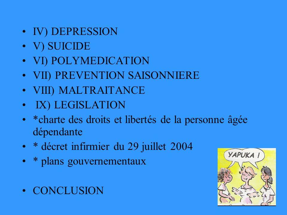 IV) DEPRESSION V) SUICIDE VI) POLYMEDICATION VII) PREVENTION SAISONNIERE VIII) MALTRAITANCE IX) LEGISLATION *charte des droits et libertés de la personne âgée dépendante * décret infirmier du 29 juillet 2004 * plans gouvernementaux CONCLUSION
