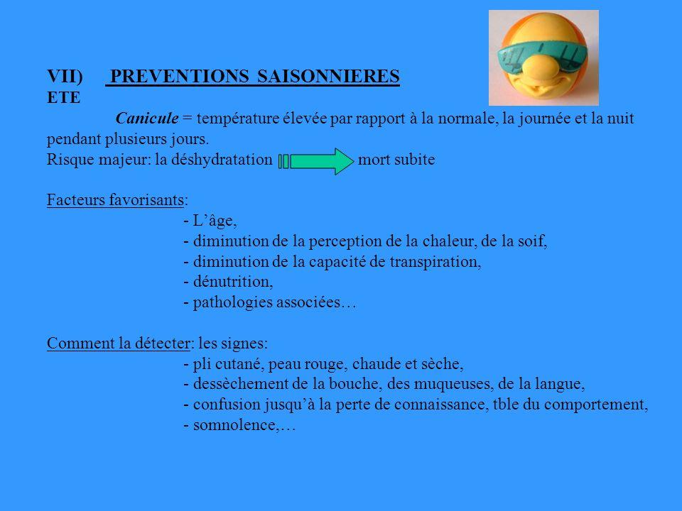 VII) PREVENTIONS SAISONNIERES ETE Canicule = température élevée par rapport à la normale, la journée et la nuit pendant plusieurs jours. Risque majeur