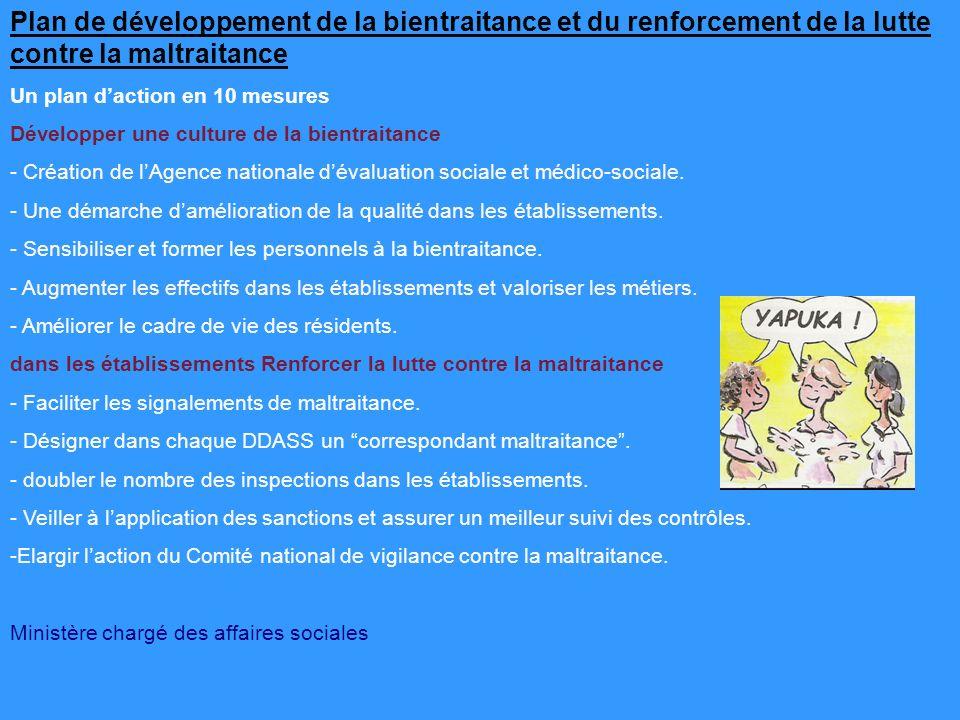 Plan de développement de la bientraitance et du renforcement de la lutte contre la maltraitance Un plan daction en 10 mesures Développer une culture de la bientraitance - Création de lAgence nationale dévaluation sociale et médico-sociale.