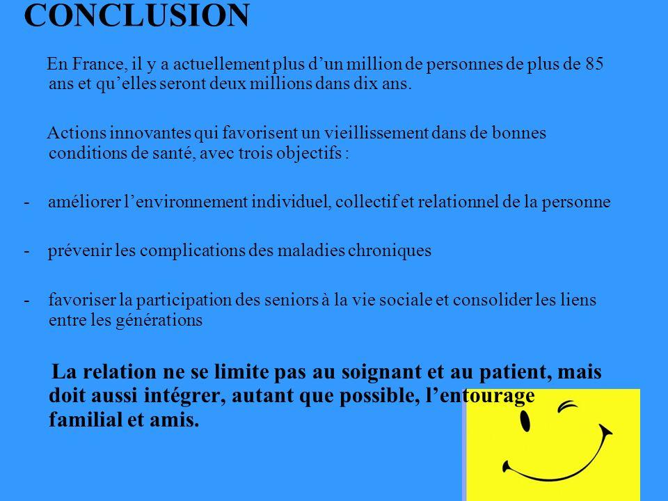 CONCLUSION En France, il y a actuellement plus dun million de personnes de plus de 85 ans et quelles seront deux millions dans dix ans.