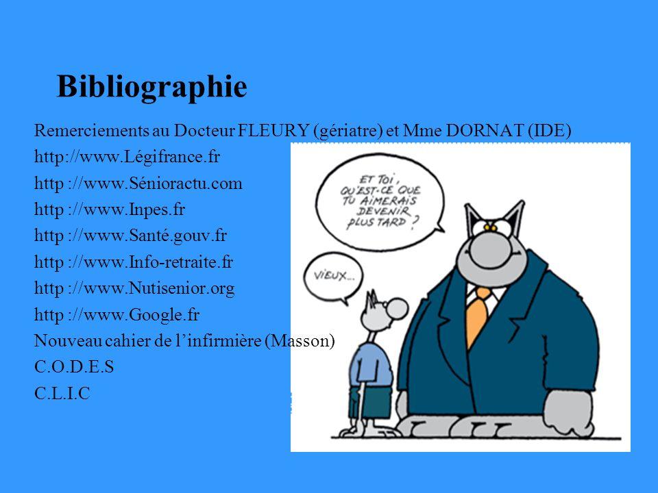 Bibliographie Remerciements au Docteur FLEURY (gériatre) et Mme DORNAT (IDE) http://www.Légifrance.fr http ://www.Sénioractu.com http ://www.Inpes.fr http ://www.Santé.gouv.fr http ://www.Info-retraite.fr http ://www.Nutisenior.org http ://www.Google.fr Nouveau cahier de linfirmière (Masson) C.O.D.E.S C.L.I.C