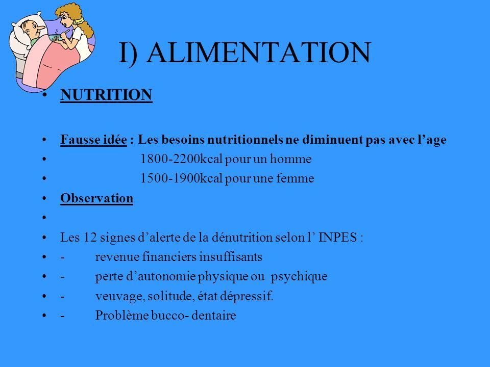 I) ALIMENTATION NUTRITION Fausse idée : Les besoins nutritionnels ne diminuent pas avec lage 1800-2200kcal pour un homme 1500-1900kcal pour une femme