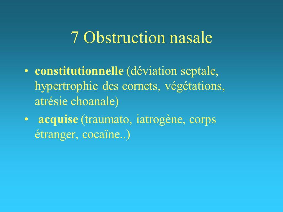 7 Obstruction nasale constitutionnelle (déviation septale, hypertrophie des cornets, végétations, atrésie choanale) acquise (traumato, iatrogène, corp