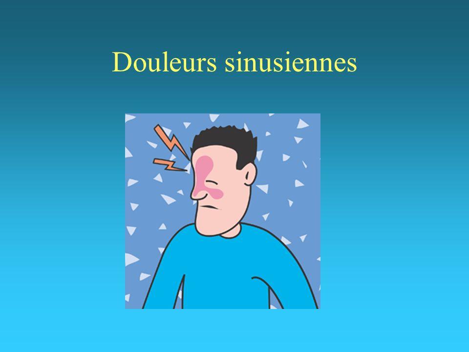 Rhinite allergique Saisonnier ou perannuel éternuements en salves rhinorrhée aqueuse obstruction nasale prurit nasal antihistaminiques