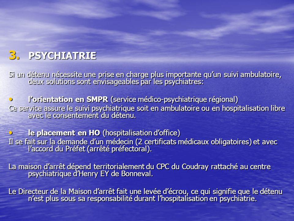 3. PSYCHIATRIE Si un détenu nécessite une prise en charge plus importante quun suivi ambulatoire, deux solutions sont envisageables par les psychiatre