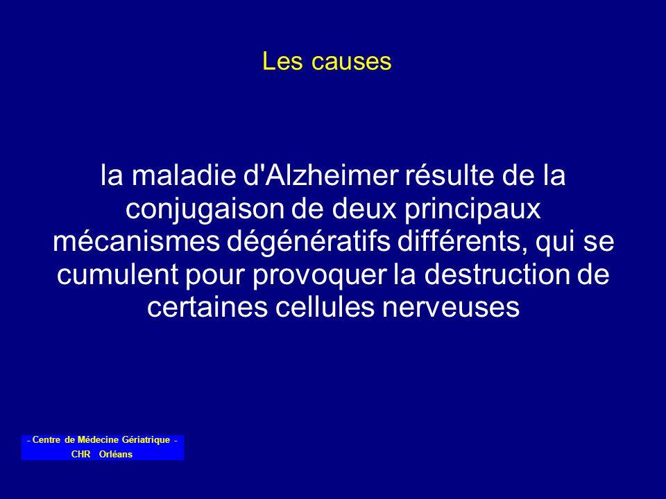 - Centre de Médecine Gériatrique - CHR Orléans Les causes la maladie d'Alzheimer résulte de la conjugaison de deux principaux mécanismes dégénératifs
