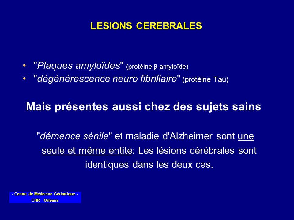 - Centre de Médecine Gériatrique - CHR Orléans LESIONS CEREBRALES