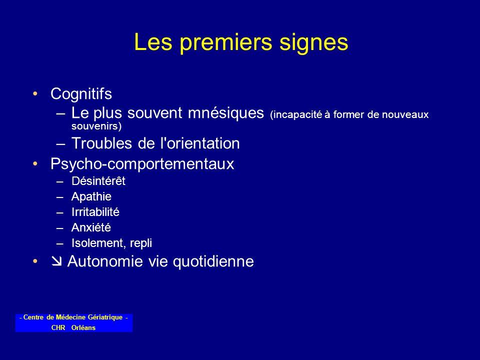 - Centre de Médecine Gériatrique - CHR Orléans Les premiers signes Cognitifs –Le plus souvent mnésiques (incapacité à former de nouveaux souvenirs) –T