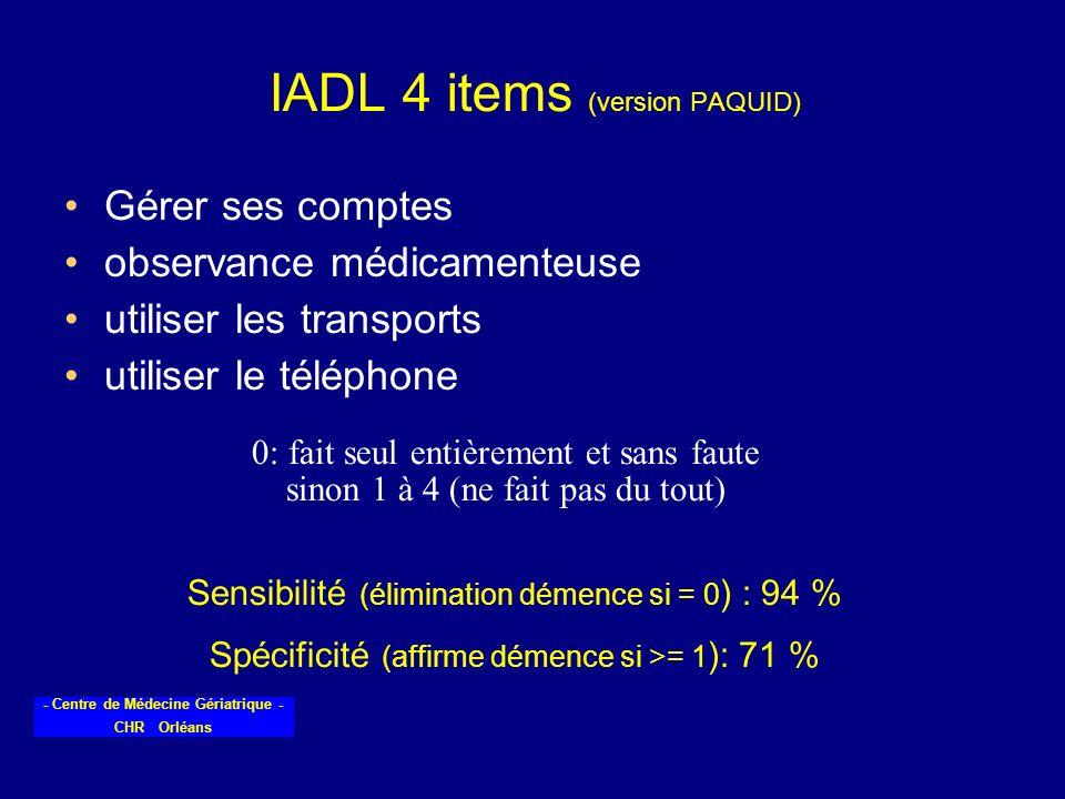 - Centre de Médecine Gériatrique - CHR Orléans IADL 4 items (version PAQUID) Gérer ses comptes observance médicamenteuse utiliser les transports utili