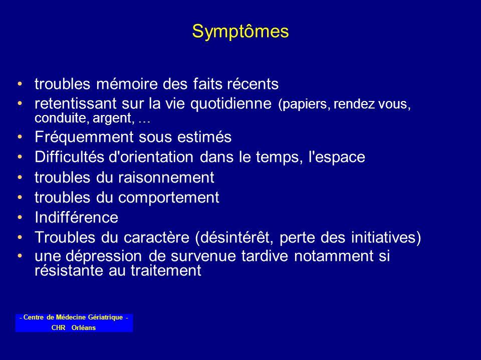 - Centre de Médecine Gériatrique - CHR Orléans Symptômes troubles mémoire des faits récents retentissant sur la vie quotidienne (papiers, rendez vous,