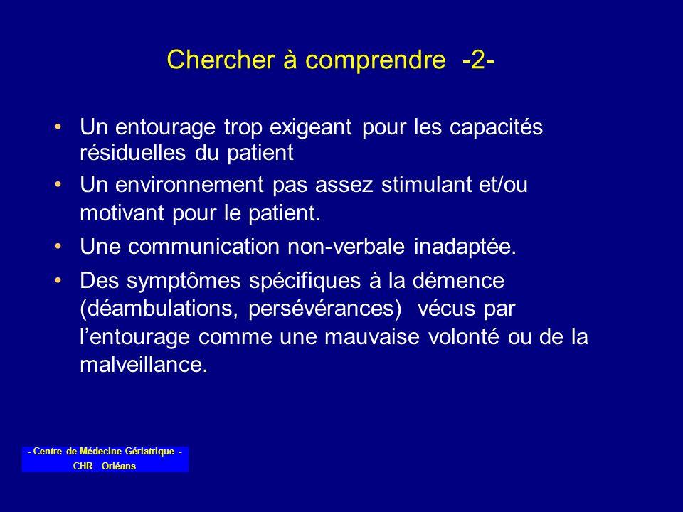 - Centre de Médecine Gériatrique - CHR Orléans Chercher à comprendre -2- Un entourage trop exigeant pour les capacités résiduelles du patient Un envir