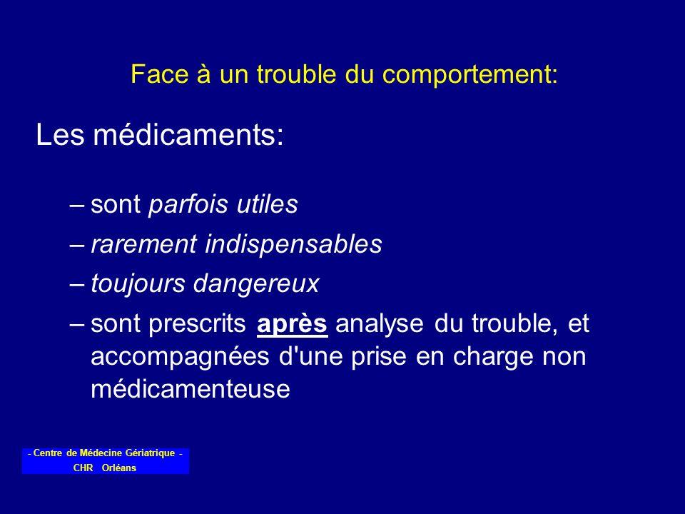 - Centre de Médecine Gériatrique - CHR Orléans Face à un trouble du comportement: Les médicaments: –sont parfois utiles –rarement indispensables –touj
